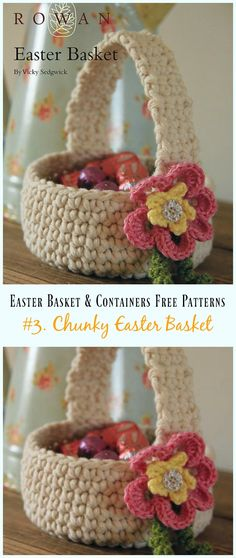 Crochet Chunky Easter Basket Free Pattern - #Crochet Easter #Basket & Containers Free Patterns
