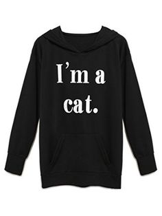 Cute Letter Printed Cat Womens Unisex Sweatshirt Pullover Jacket Jumper Sweater Crop Top Animal Teen Girls Youth Tops