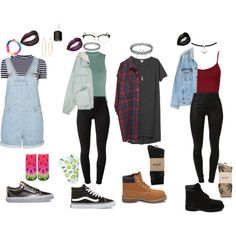 90's grunge outfits by stellaluna899 on Polyvore featuring Monki, T By Alexander Wang, Topshop, Levi's, J Brand, HUF, Living Royal, Forever 21, Timberland and Vans