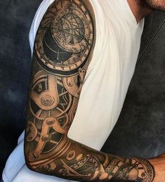 68946bf62 Nice 3D Full Sleeve Arm Tattoo Designs with Gears - Best Full Arm Sleeve  Tattoos For