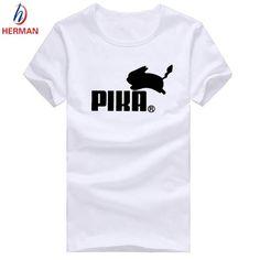 Men's Pokemon Print Tee Shirt Pikachu Clothes Women Pika T-shirt