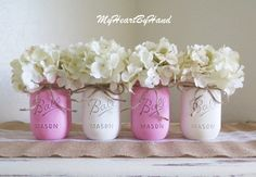 Pink and White Distressed Mason Jars. Baby Shower by MyHeartByHand