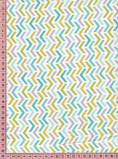 Tissu motif chevrons moutarde turquoise