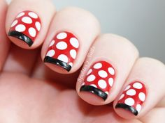 Disney inspired Nails - Minnie polka dots with black french tip - Minnie Mouse Nails, Mickey Mouse Nails, Disney Nail Designs, Cute Nail Designs, French Nails, How To Do Nails, Fun Nails, Disney Inspired Nails, Easy Disney Nails