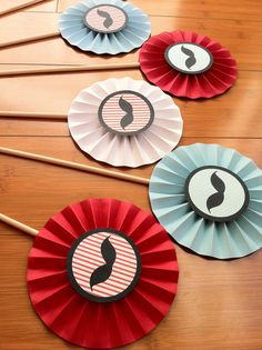 "Set of 6 Large 6"" Paper Rosette Centerpieces - Mustache Party Red, Light Blue/Aqua, White, Black on Etsy, $15.00"