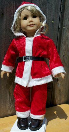 Santa Suit For I8 Inch Doll Clothes by ThreadsAndSplinters on Etsy, $33.50 American Boy Doll, American Doll Clothes, Ag Doll Clothes, Doll Clothes Patterns, Doll Patterns, Doll Costume, Girl Costumes, Costume Ideas, Diy Ag Dolls