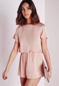Silky Double Layer Romper Dusky Pink - Romper - Pink - Layer -Missguided