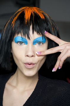 Colorful, playful fun at Jeremy Scott #AW15! Hair by Eugene Souleiman #SpeakEIMI