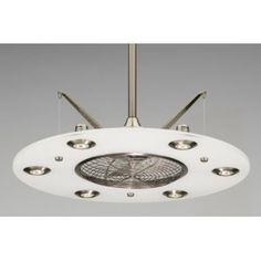 Fanimation Fp4820Pw Cumulos Ceiling Fan, Pewter Finish With White Frosted Acrylic, Satin Nickel Accents, 3 Blades