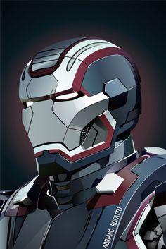 Ilustração em vector, Iron Patriot.