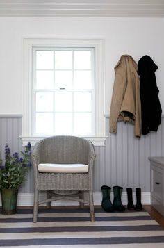 Sage Design - laundry/mud rooms - white and gray mudroom, mudroom, gray beadboard, beadboard walls, gray beadboard walls, wicker chair, gray...