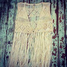 Hippie Crochet Fringe Vest! $46