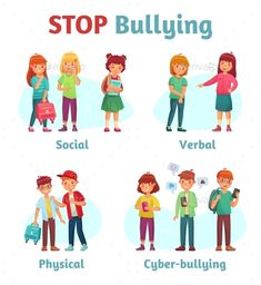 Buy Stop School Bullying by tartila on GraphicRiver. Stop school bullying. Aggressive teen bully, schooler verbal aggression and teenage violence or bullying types. Verbal Bullying, Anti Bullying Lessons, Teen Bullying, Bullying Activities, Stop Bullying Posters, Different Types Of Bullying, Feeling Isolated, Drawing School, Type Illustration