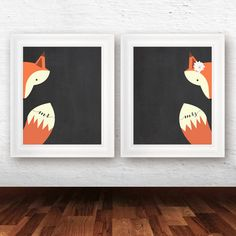 Mr and Mrs Art Print, bedroom wall decor, fox decor, fox art print, bridal shower gift, DIY wedding gift - INSTANT DOWNLOAD