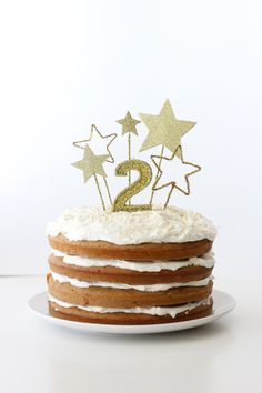 gold star cake toppers and fluffy dairy free frosting