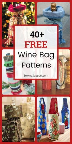 Wine Bag Patterns (Free) : Over 40 Free Diy Wine Bags & Totes sewing patterns, projects, and tutorials. Ideas for fun and elegant wine bags to sew. Instructions for how to make a wine bag. Bag Pattern Free, Bag Patterns To Sew, Sewing Patterns Free, Wine Purse, Wine Bags, Wine Tote Bag, Sewing Crafts, Sewing Projects, Bottle Bag