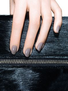 Glossy Grey Nails