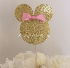 Gold Minnie Mouse Silhouette Cake Topper