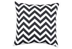 Chevron 19x19 Cotton Pillow, Black/White on OneKingsLane.com