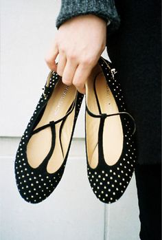 Black and white tiny polka dot shoes -- cute as a button!