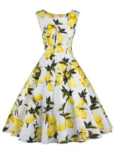 Ezcosplay Women's Sleeveless Lemon Floral Party Picnic Dress Cocktail Tea Dress *** You can get additional details at the image link. (This is an affiliate link and I receive a commission for the sales) #CocktailDress