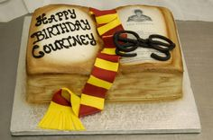 Harry Potter Book Cake (with fondant scarf and glasses).good gift for bookish @OzealGlasses