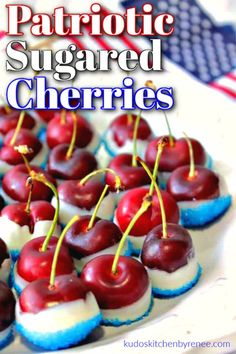 Fast and easy red, white, and blue sugared cherries will be the hit of any Memorial Day or 4th of July celebration! They're a sweet no-bake treat! #4thofjulyrecipe #memorialdayrecipe #sugaredcherries #redwhitebluedessert #redwhitebluefood #cherries #patrioticdessert #patrioticfood #kudoskitchenrecipes #nobakersugaredcherries #nobake4thofjulyrecipe Fourth Of July Food, 4th Of July Celebration, July 4th, Patriotic Desserts, Fun Desserts, Summer Recipes, Holiday Recipes, Family Recipes, Recipes Dinner