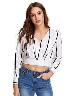 b21490d0056 Romwe Women s V Neck Long Sleeve Striped Surplice Crop Top Blouse Black and  White Small at Amazon Women s Clothing store