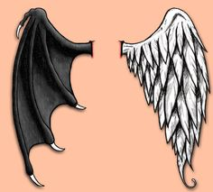 Good and Evil Wings by on DeviantArt Wing Tattoos On Back, Back Tattoo, Good And Evil Tattoos, Body Art Tattoos, Sleeve Tattoos, Tattoo Art, Alas Tattoo, Angel Wings Drawing, Demon Wings