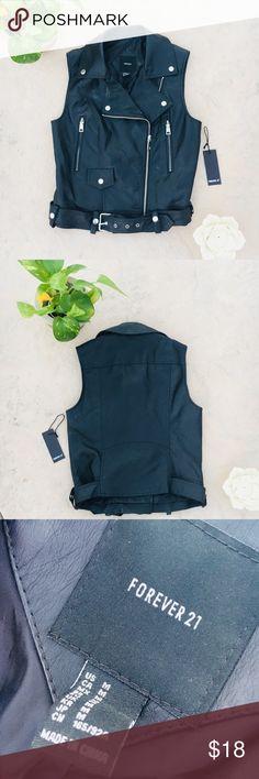 Black Leather Vest Forever 21  Black Leather Vest Size Medium  Perfect for Any Occasion!!! Forever 21 Jackets & Coats Vests