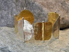 Available for sale from Galerie Sandhofer, M. Little Things, Cuff Bracelets, Gold, Copper, Artsy, Sterling Silver, Artwork, Big, Jewelry