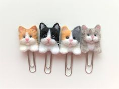 Excited to share the latest addition to my CatsyCharm etsy shop: Wool Felted 3D Cat Bookmarks/Planner Clips