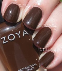 """The PolishAholic - Zoya Fall 2013 Cashmere Collection Swatches - """"Louise is a chocolately brown creme. The formula was good, it was a touch sheer on the first coat but completely opaque with the second. I used 2 coats for the photos below."""""""