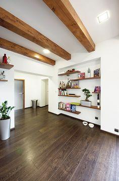 Apartment Living, Living Room, Pergola, New Homes, Shelves, Interior Design, Bed, House, Furniture
