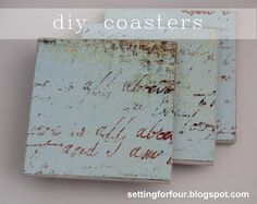 DIY Coaster Tutorial made with scrapbook paper and Mod Podge! I love the coastal colors and script writing, so pretty!