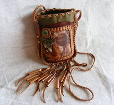 LONG FOX native american style Medicine Bag / Spirit Pouch Edward S. Curtis deerskin with pheasant feathers