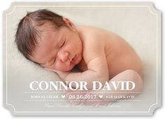 Birth Announcement: Little Sweetheart, Ticket Corners, White