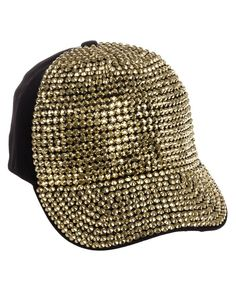 44a869cd9a5f Fully Studded Rhinestone Adjustable Cotton Baseball Cap Hat Black Gold  C011NXBCH47