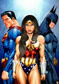 Superman, Wonder Woman & Batman by Ed Benes (DC comics) Batman Wonder Woman, Wonder Woman Movie, Wonder Women, Batman Vs Superman, Superman News, Batman Arkham, Batman Art, Marvel Vs, Marvel Dc Comics