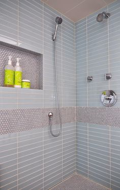 Penny tiles used to create an accent feature in the contemporary bathroom