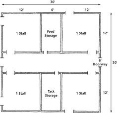 for the barn I hope I have someday. Hay storage above, center aisle, and enough stalls for at least one boarder, maybe. Horse Shed, Horse Barn Plans, Barn Stalls, Horse Stalls, Barndominium Floor Plans, Barndominium Texas, Barndominium Pictures, Small Horse Barns, Horses