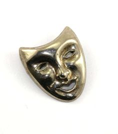 Vintage Theater Open Mask Pin/Brooch Pendant 925 Sterling BB 686 by GabrielStar on Etsy