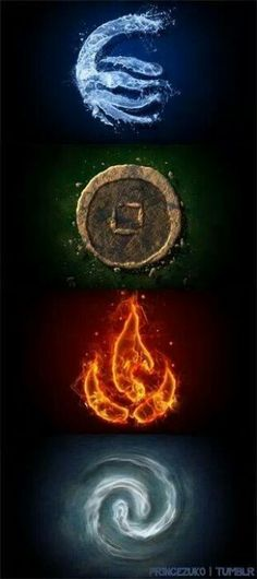 Water, Earth, Fire, Air The four elements, the four nations. Avatar the Last Airbender: The Legend of Aang Fantasy Kunst, Fantasy Art, Wiccan, Magick, Element Tattoo, 4 Elements, Four Elements Tattoo, Avatar The Last Airbender, Sacred Geometry