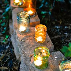 Turn old jars into pretty colored DIY votives.