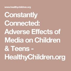 effects of media on children In conclusion, media can be regarded as the main influence on teenagers' and children's behaviors smoking and alcohol consumption, increased fast food consumption, and violence are some of these influences in my opinion, media must make some adjustments in order to reduce the bad effects of.