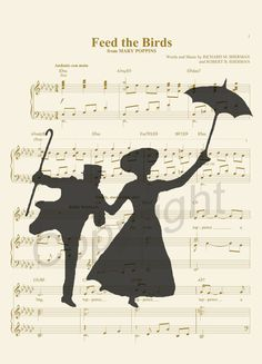 Mary Poppins et Bert Alfred Silhouette feuille par AmourPrints