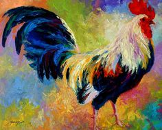 Rooster Paintings Large | Candy - Rooster Painting by Marion Rose - Eye Candy - Rooster Fine Art ...