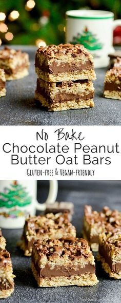 No-Bake Chocolate Peanut Butter Oat Bars! This delicious cookie recipe comes together in 10 minutes! Gluten-free & vegan-friendly!