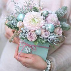 Flowers Boquette Pink Ranunculus 50 Ideas For 2019 Purple Flower Arrangements, Christmas Floral Arrangements, Christmas Love, Christmas Wreaths, Christmas Crafts, Merry Christmas, Advent Wreaths, Nordic Christmas, Flower Box Gift