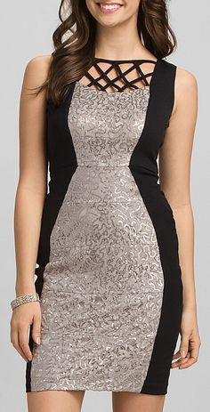 Sequined Lace Colorblock Dress
